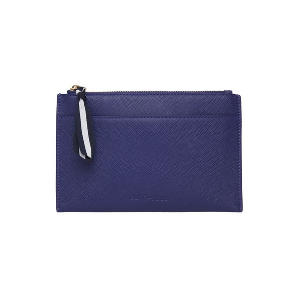 Elms and King New York Coin Purse in navy safiano