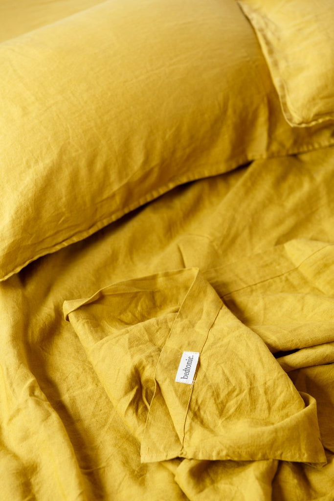 bedtonic ochre sheet set French linen
