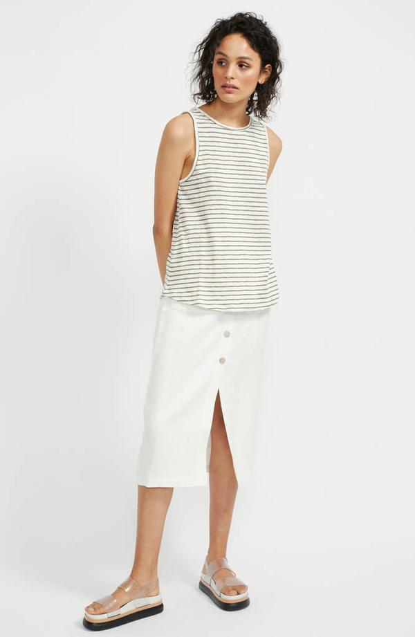 Staple The Label Olive Stripe Tank in khaki and white