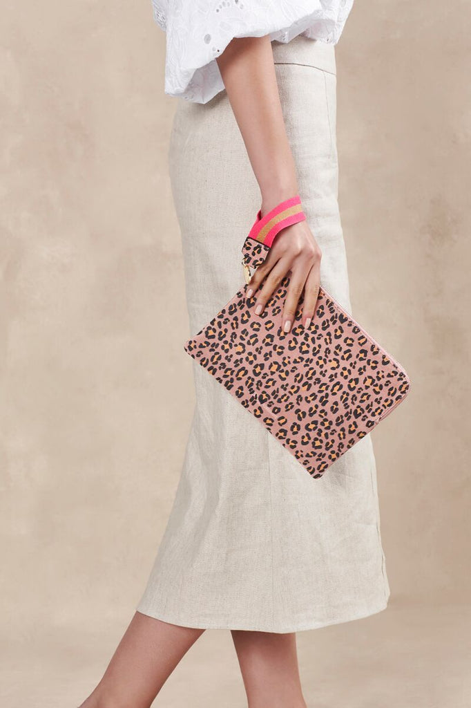 Arlington Milne Paige Suede Clutch in pink leopard print with wristlet