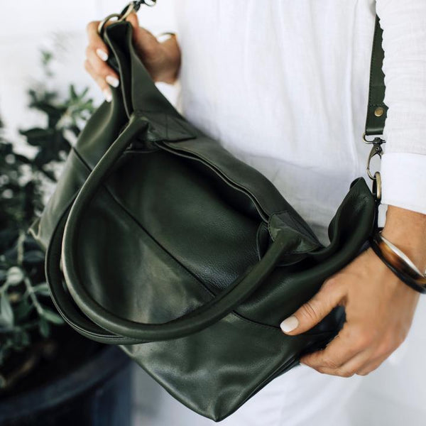 Bahru Leather Paris tote bag in army green