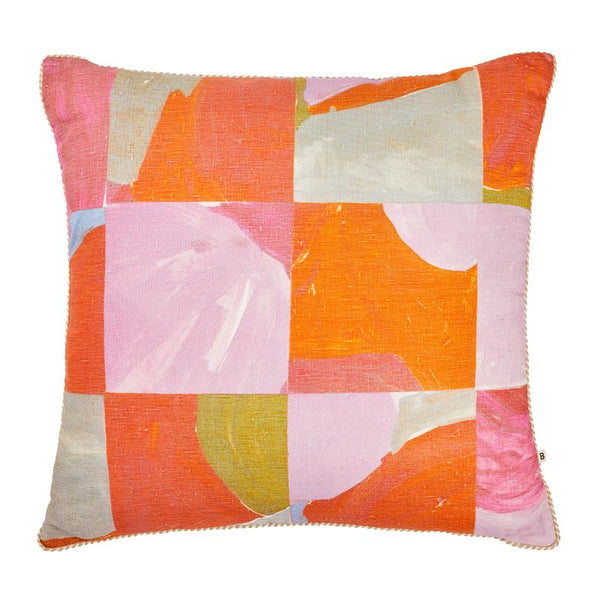 Bonnie & Neil Patchwork Cushion 60cm in multi colour pinks and oranges