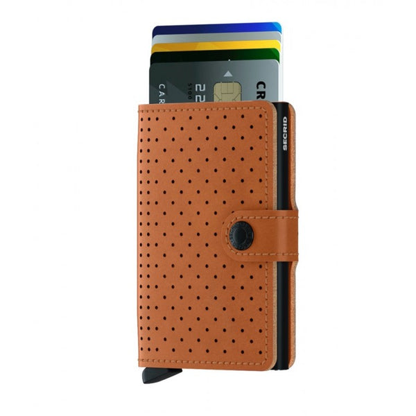 Secrid miniwallet in perforated cognac leather