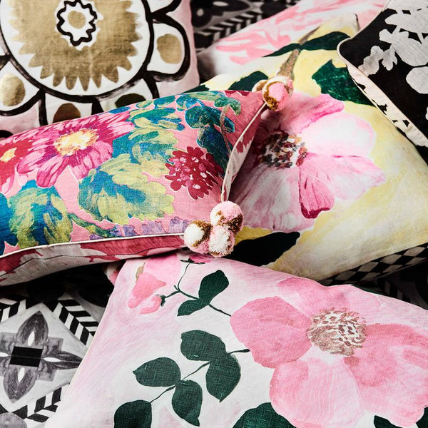 Bonnie and Neil Poppy Cushion 60x40cm in pink multi colour