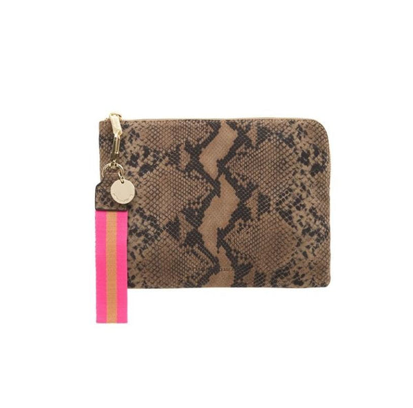 ARLINGTON MILNE Paige Clutch with wristlet in Python Suede