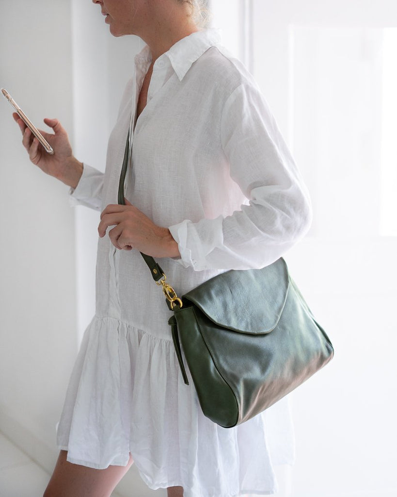 Bahru Singapore leather bag in army green