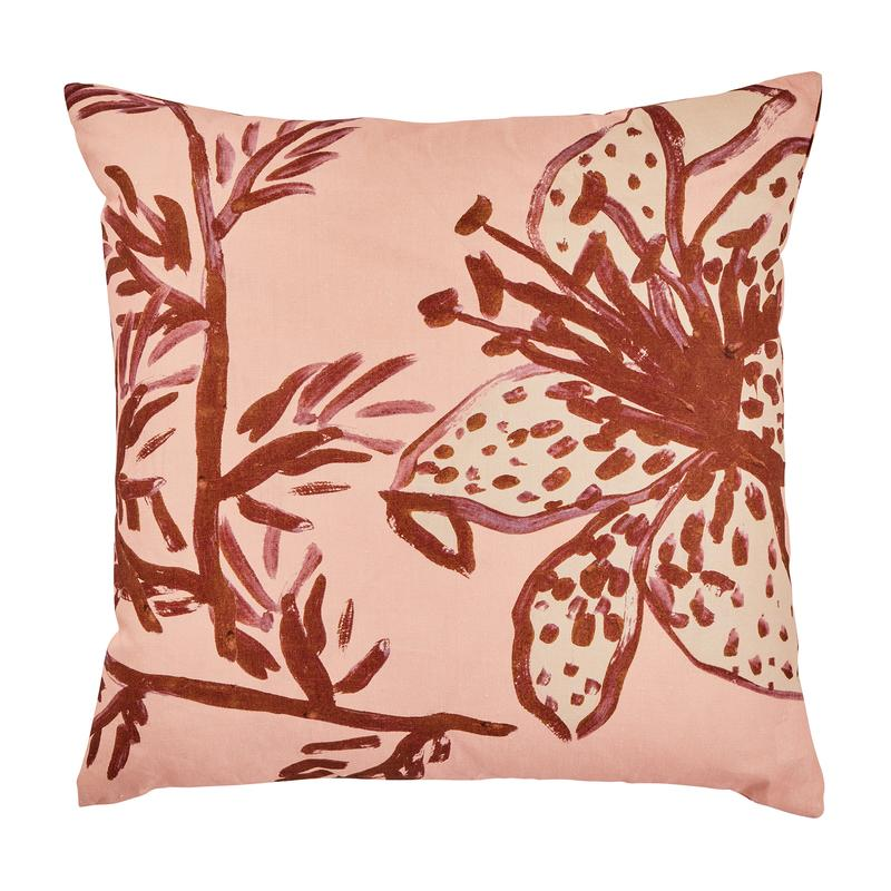 Bonnie and Neil Spotted Tiger Lily Cushion in Peach