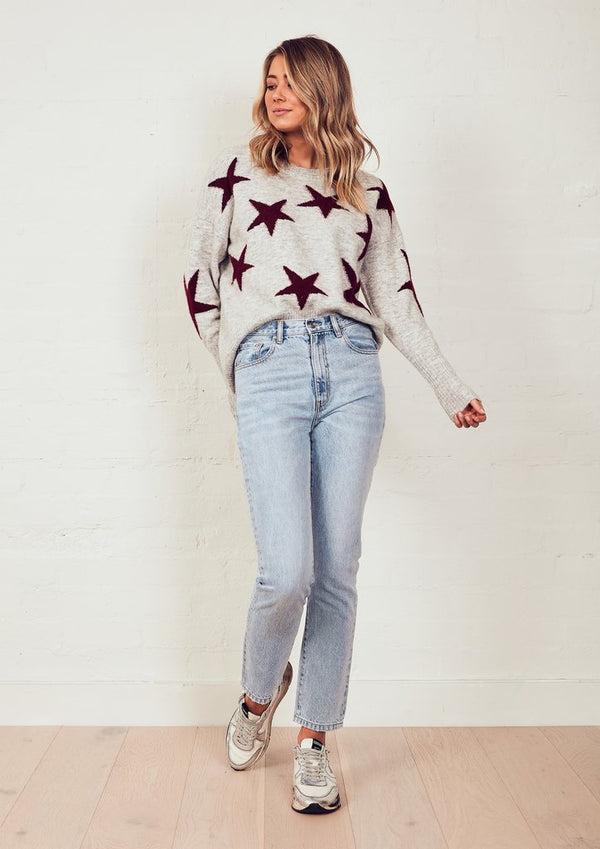 We Are The Others The Stars Knit Jumper in Grey Marle and Merlot