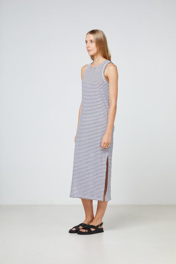 Elka Collective EC Linen Tank dress in white and navy stripe