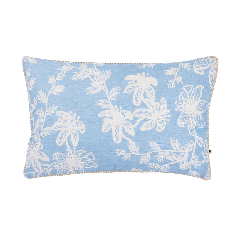 Bonnie and Neil Tiger Lily Cushion 60x40cm in light blue