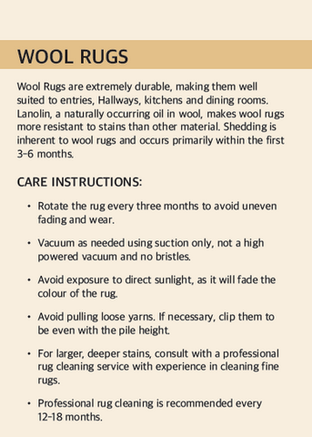 WOOL RUG CARE INSTRUCTION