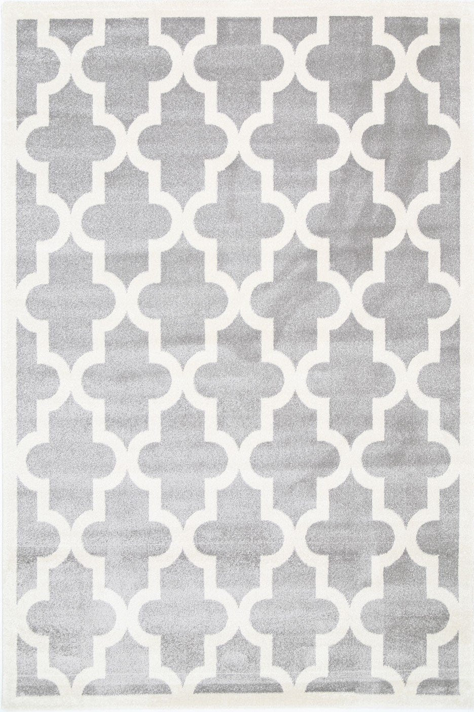 Piccolo Light Grey and White Lattice Pattern Kids Rug