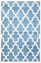 Load image into Gallery viewer, Piccolo Blue and White Lattice Pattern Kids Rug