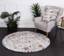 Load image into Gallery viewer, Roman Mosaic Geometric Navy Red Round Rug