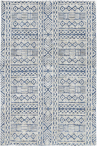 Barkot Tribal Blue Rug freeshipping - Rug Empire