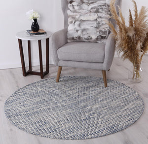 Scandi Blue Reversible Wool Round Rug