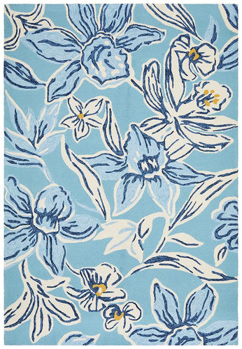 Cabana Whimsical Blue Floral Indoor Outdoor Rug