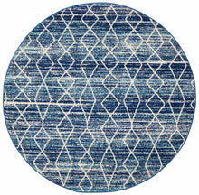 Load image into Gallery viewer, Evoke Culture Blue Transitional Round Rug