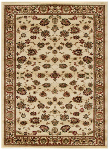 Herat Collection Traditional Floral Pattern Ivory Rug