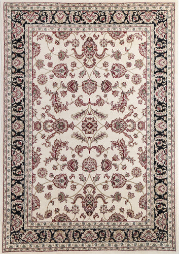 Ornate Cream and Black Traditional Bordered Ikat Rug