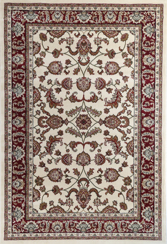 Ornate Cream Traditional Bordered Ikat Rug