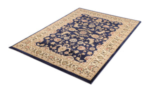 Ornate Navy Blue Traditional Bordered Ikat Rug