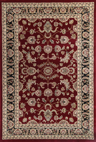 Ornate Black and Red Traditional Bordered Ikat Rug