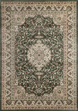 Load image into Gallery viewer, Ornate Green Bordered Traditional Flowered Rug