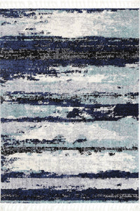 Noosa Navy Blue Abstract Rug - Rug Empire