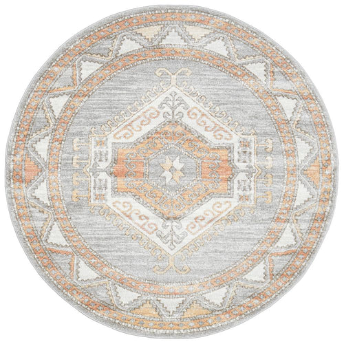 Jervis Grey Round Rug freeshipping - Rug Empire