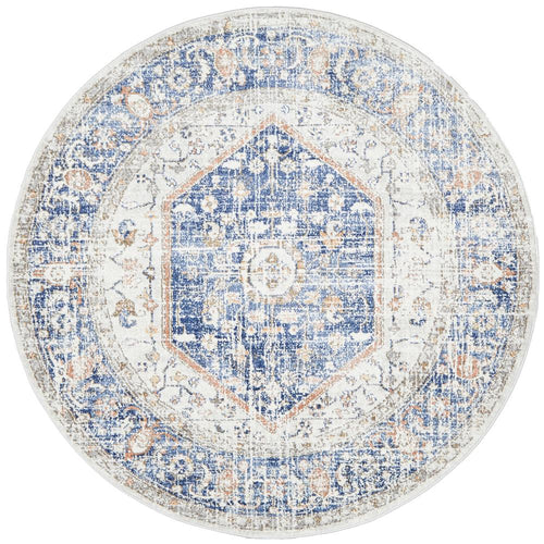 Jervis Blue Round Rug freeshipping - Rug Empire