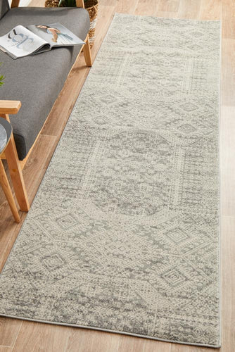 Zelda Silver Grey Runner Rug - Rug Empire