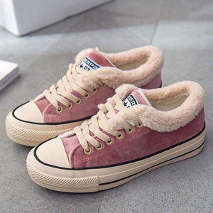 Super Cute Fur Lined Canvas Sneakers Shoes For Women