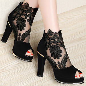Women's High Quality Sexy Lace Dress High Heel Sandals Shoes
