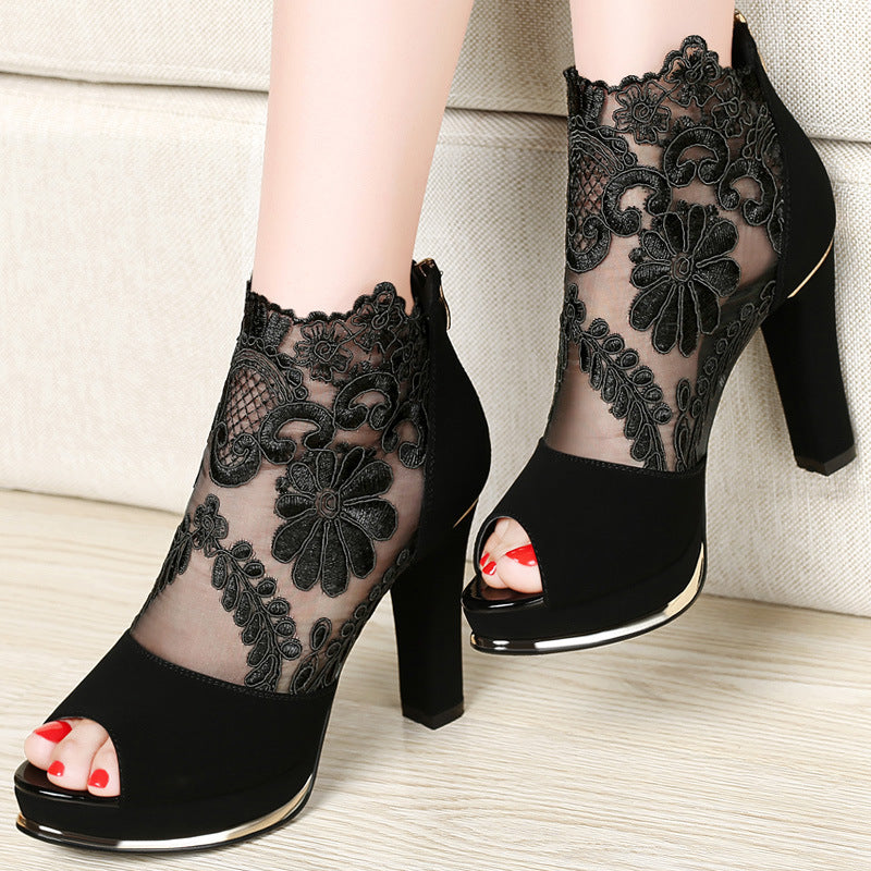 493547499f Women's High Quality Sexy Lace Dress High Heel Sandals Shoes ...