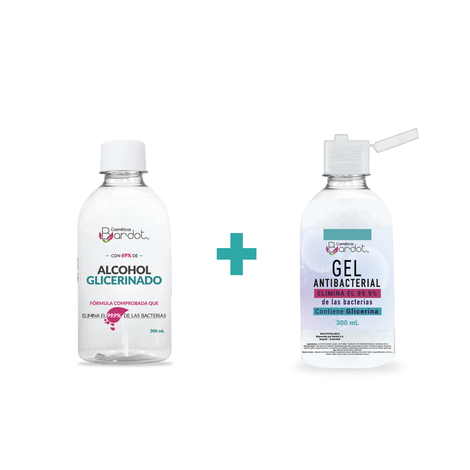 Kit Gel Antibacterial de 300 mL y Alcohol Glicerinado de 300 mL