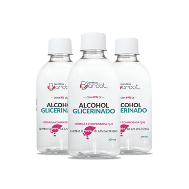 Alcohol Glicerinado Bardot 300ml Kit x3