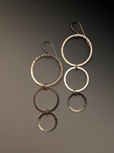 Triple Taper Circle Earrings