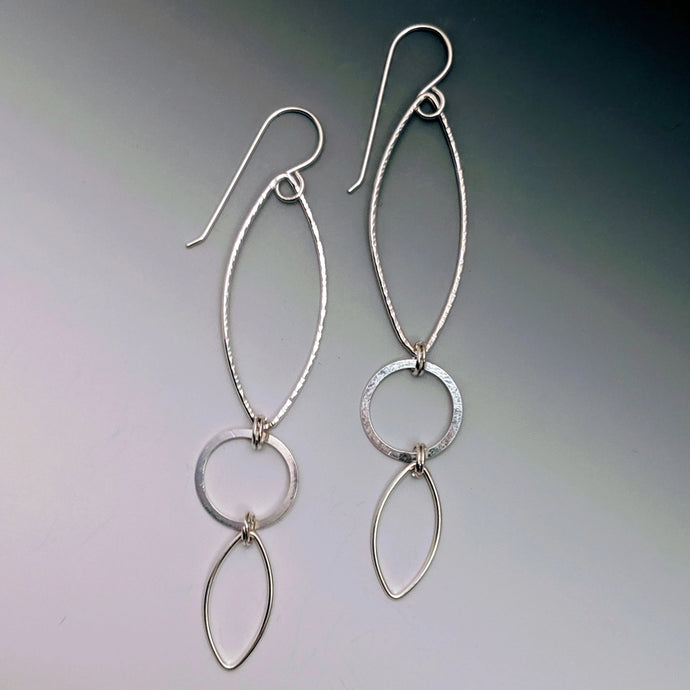 Triple Marquis Circle Drop Earrings