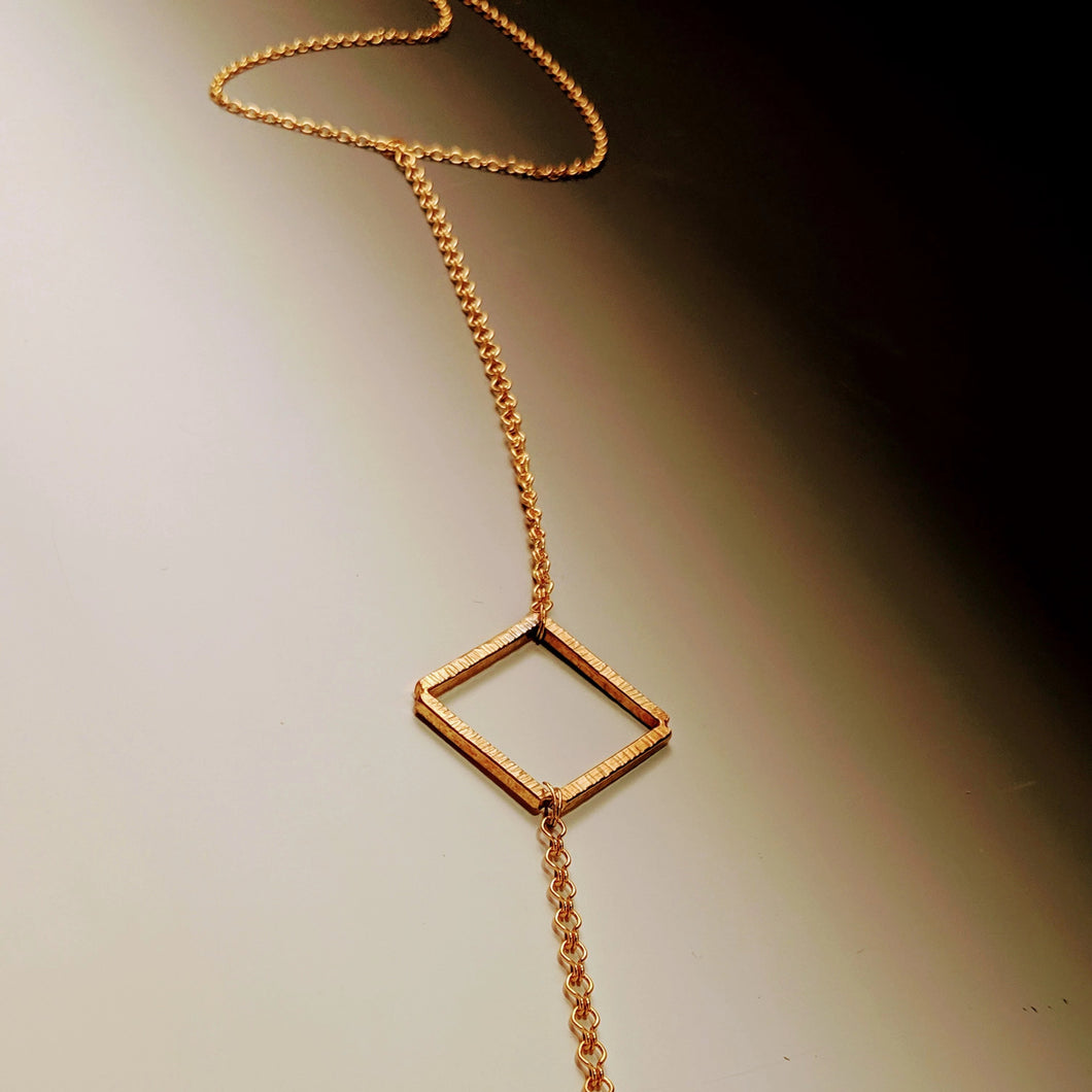 Diamond Square Drop Necklace