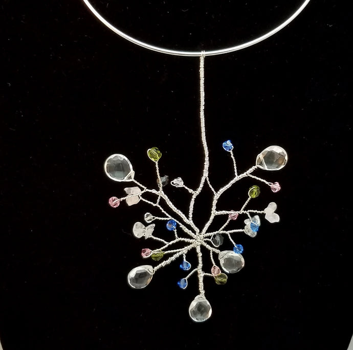 Sterling and Swarovski Crystal Organic Drop Necklace