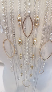 Waterfall of Silver, Pearl, and Gold Back Necklace