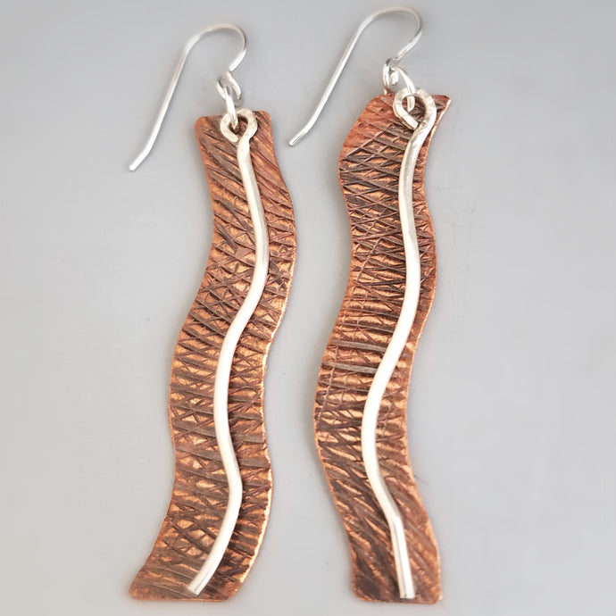 Wavy Copper Earrings