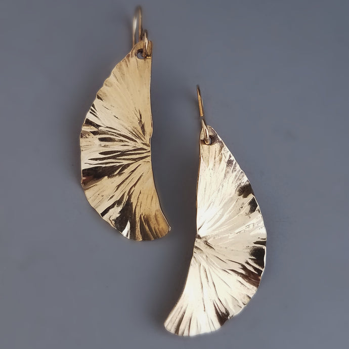 Tear Drop Ginko Leaf Earrings