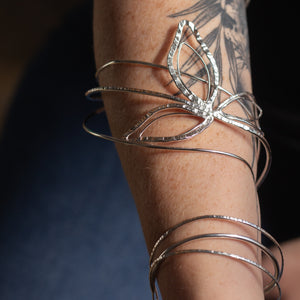 Spiral Sterling Leaf Arm cuff