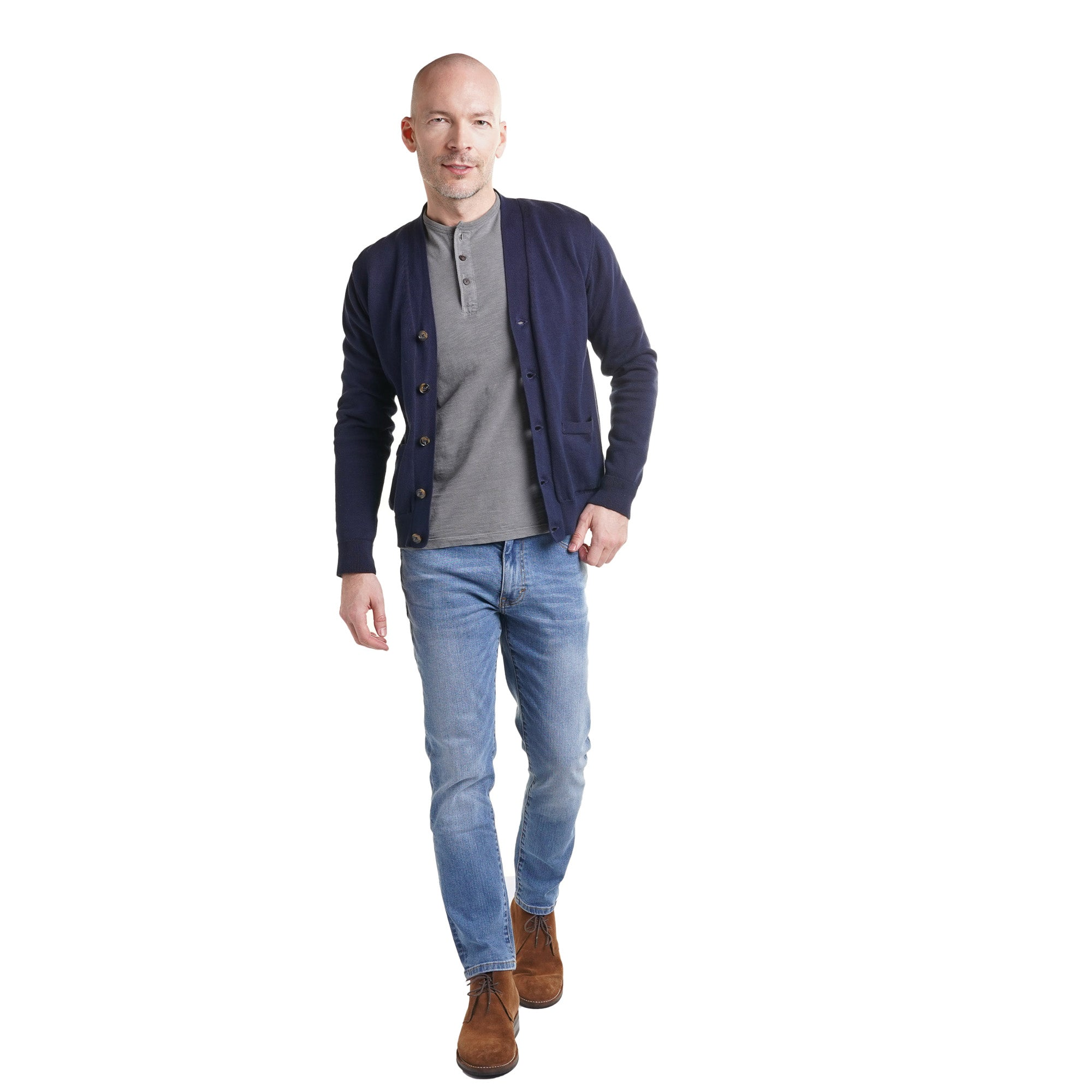 Cardigan with henley shirt