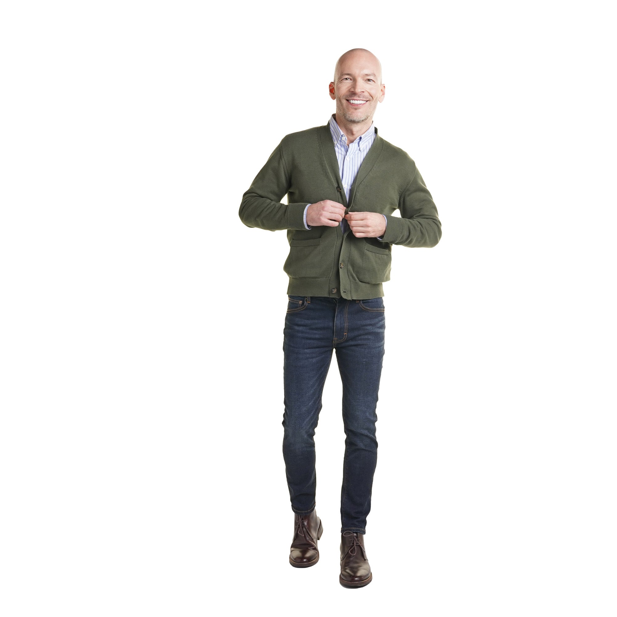 Cardigan with Oxford shirt