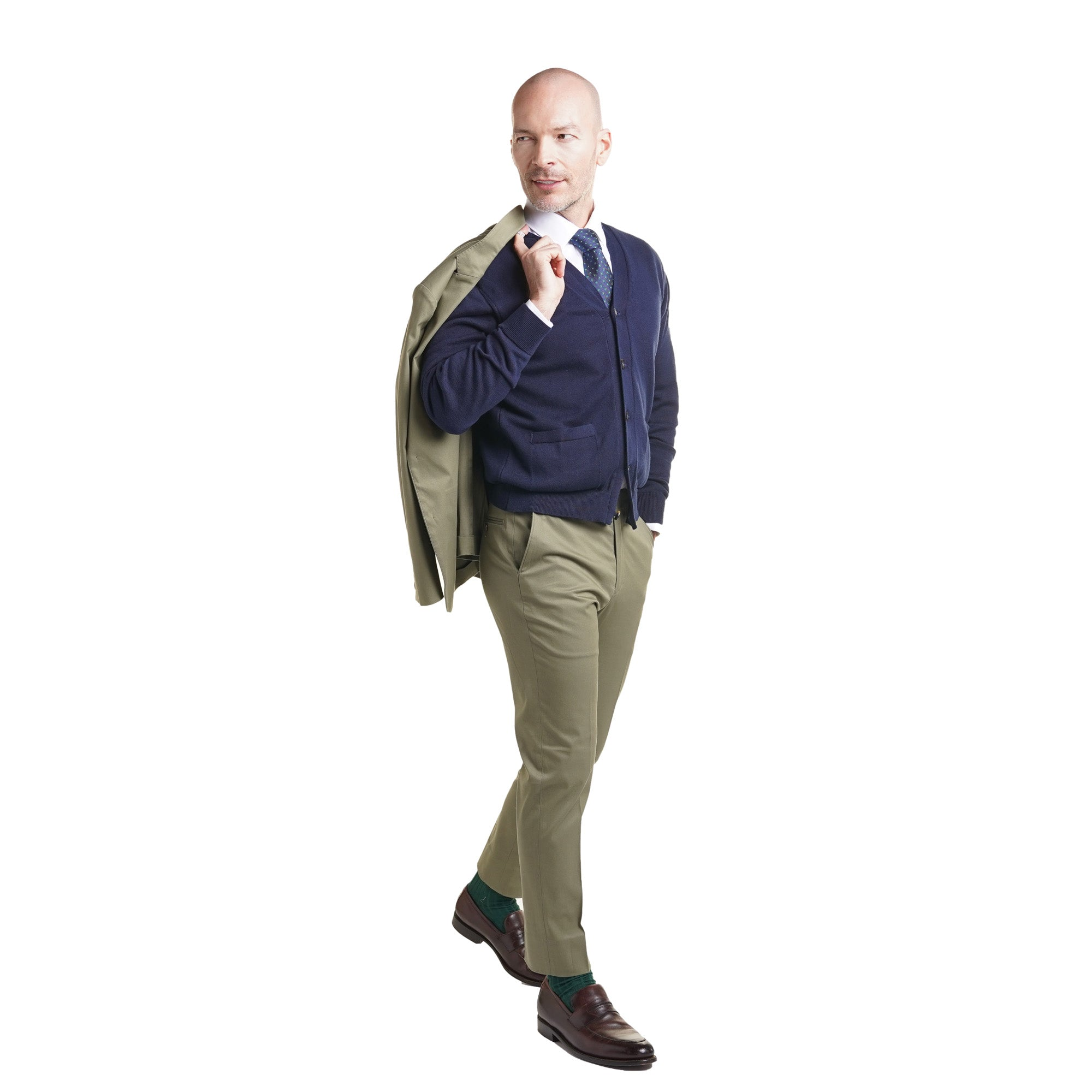 Cardigan with suit and jacket off