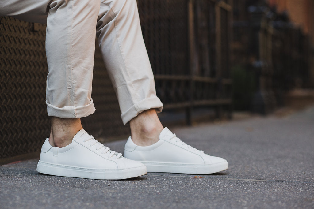 Cuffed chinos with white sneakers