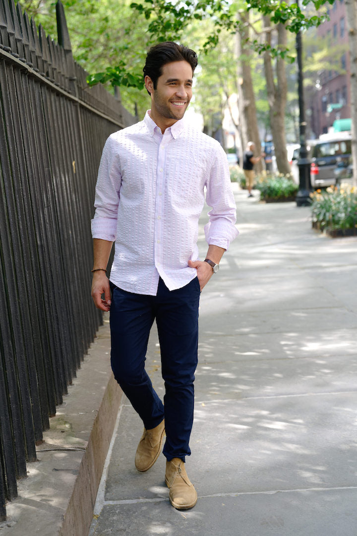 e391ae46ea PMNYC seersucker shirt. Seersucker fabric shirts are ideal to keep you  looking cool as well feeling cooler during the hottest days of summer.